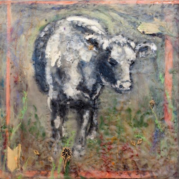 """12""""x12"""" bull in encaustic medium"""