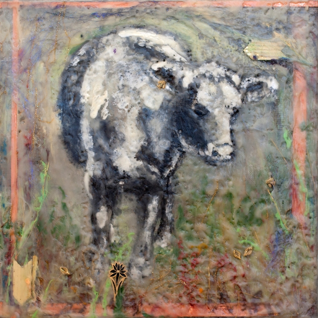 "12""x12"" bull in encaustic medium"