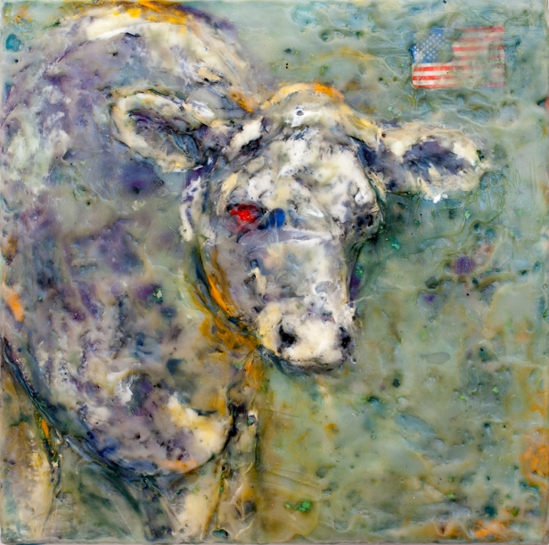 "Tribute to Jasper Johns 9"" x 9"" by Susan Krieg"