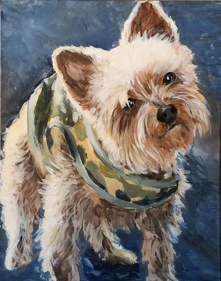 painting by Susan Krieg of her dog Desiree.