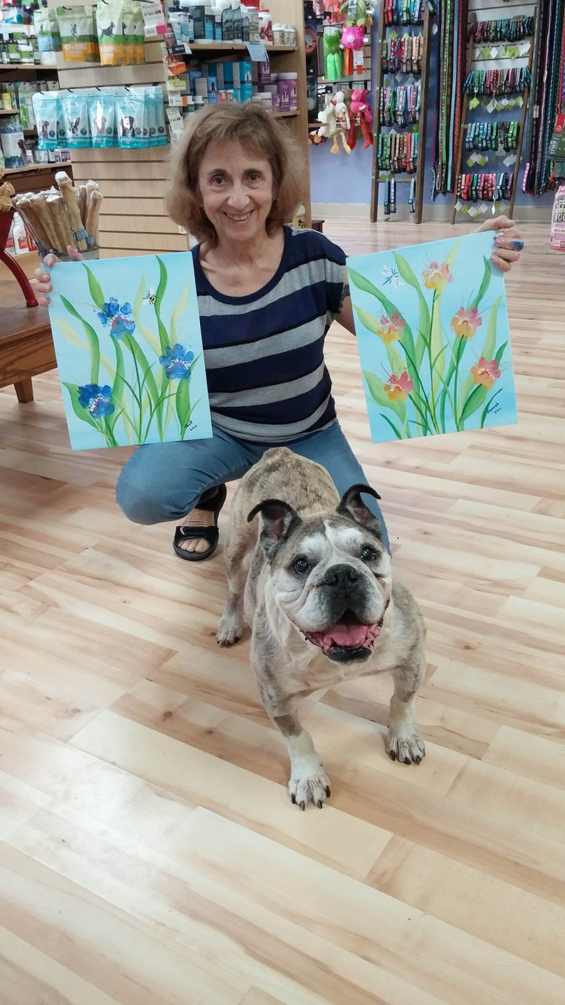 Dog paw painting on canvas