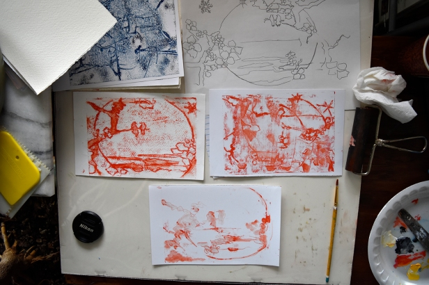 Four more monoprints to develop the idea for the painting.