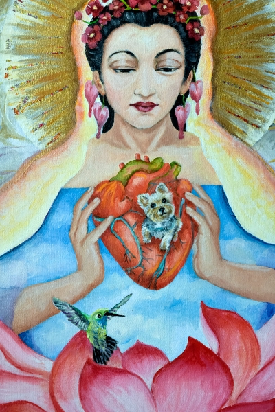 image of Desiree dog embedded in heart
