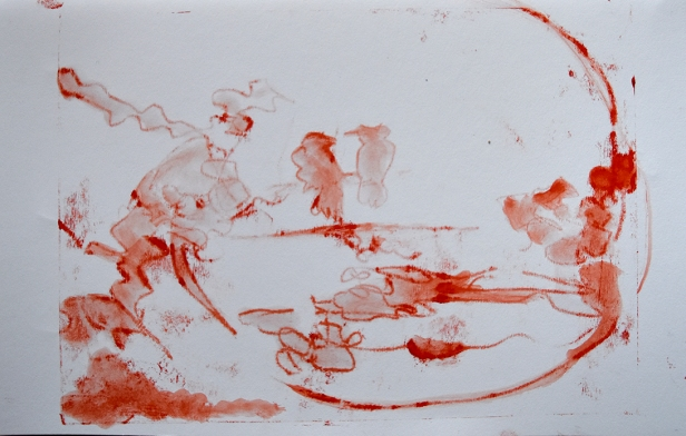 image of One of the monoprints that helped develop the idea for the painting