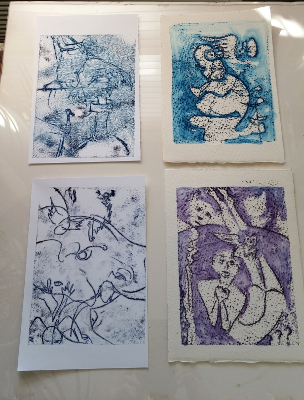 "Four monoprints doodled on paper. Each 7"" x 5"" ."