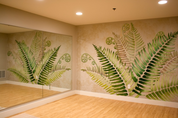 picture of mural title Yoga of the Fern reflected in a mirror