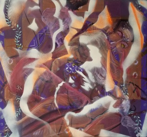 Smaller figures were spray painted as the 3rd phase of the painting titled In Dreams We Heal