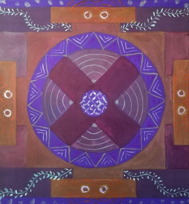 Painted a mandala image on the canvas to start the painting titled In Dreams We Heal