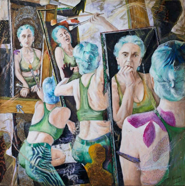 a multi-figured self-portrait of Susan Krieg in the process of painting.