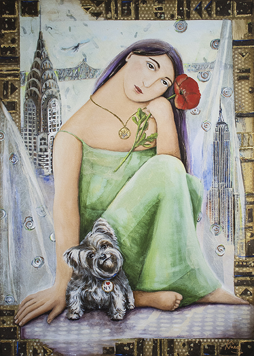 Krieg painting of woman with a small yorkshire terrier and New York Skyline in background.