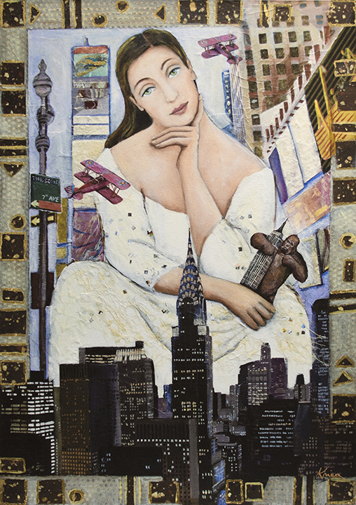 image of woman on New York skyline holding king kong in her hand