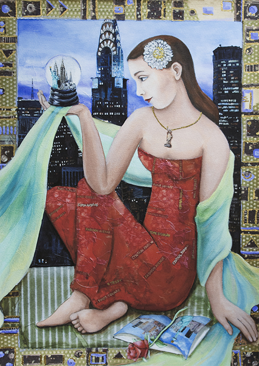 Krieg's painting of a Woman gazing into a snowglobe with NY skyline in the background.